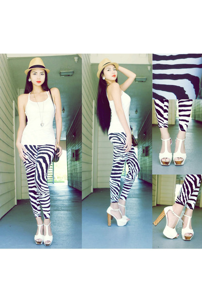 cuban hat unknown brand hat - zebra print unknown brand leggings - Wet Seal top