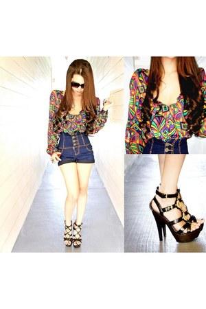 gladiator heels Qupid heels - high waisted thrifted shorts