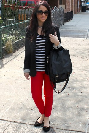 red LF jeans - black Topshop shoes - black Theory blazer