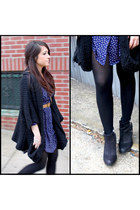 blue Miss Selfridge dress - black Topshop boots - black Zara sweater