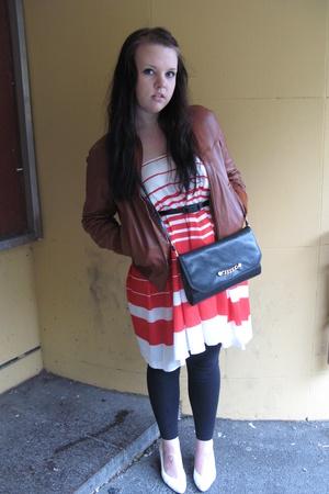 unknown jacket - unknown dress - unknown purse - unknown shoes