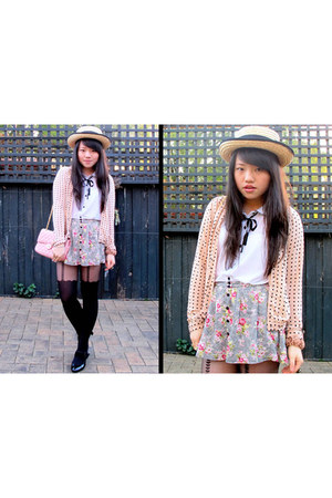 asos tights - Forever 21 shorts - Dotti cardigan - Topshop top