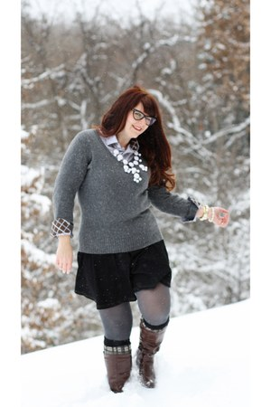 Charming Charlie necklace - Shoedazzle boots - Target sweater - Anna Sui socks