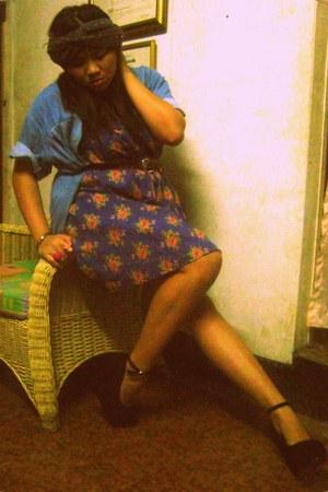 floral dress - denim vintage shirt - wedges
