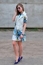 Light-blue-suited-dress-blue-h-m-glasses-blue-zara-heels-white-h-m-vest