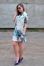 Light-blue-suited-dress-blue-h-m-glasses-blue-zara-heels-white-h-m-vest