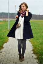 navy H&M coat - charcoal gray reserved boots - brick red H&M scarf