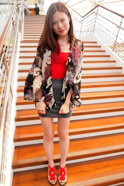 red H&amp;M vest - sheer kimono asos top - charcoal gray H&amp;M skirt - Zara heels