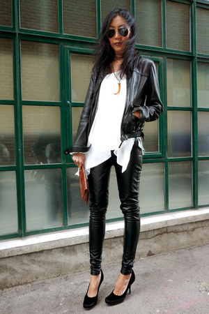 Massimo Dutti jacket - Sergio Rossi shoes - Topshop leggings - vintage purse