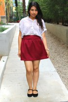 maroon skirt - ivory blouse