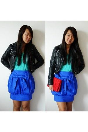 black biker leather H&amp;M jacket - red roses H&amp;M bag - blue balloon Primark skirt
