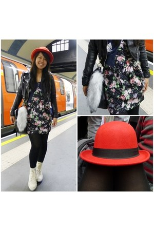 red bowler unknown hat - black leather biker H&amp;M jacket