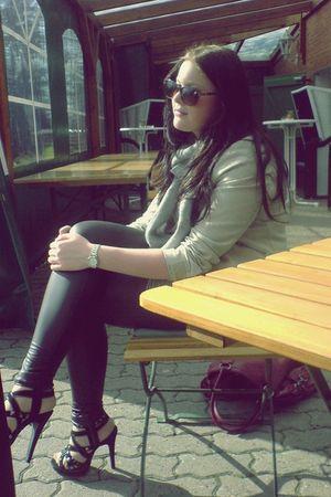 red c&a accessories - black Primark leggings - black Primark shoes - beige H&M j