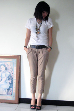 Uniqlo t-shirt - Topshop pants - H&M belt - pedder red shoes