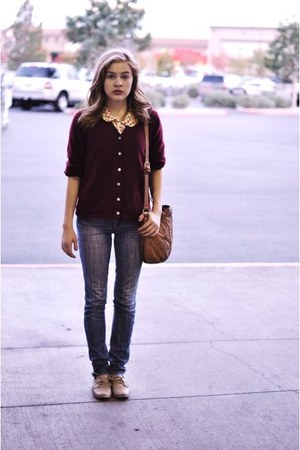 crimson gift cardigan - nude Anthropologie blouse - blue dont remember jeans - t