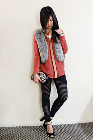 black tights - faux fur Miss Shop vest - silk bardot top - suede Siren heels