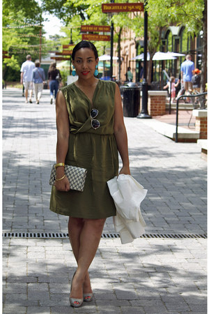 heather gray Aldo shoes - army green Target dress - Gucci purse