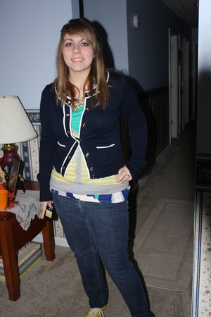 yellow Converse shoes - blue SO jeans - blue Forever 21 cardigan - yellow JC Pen