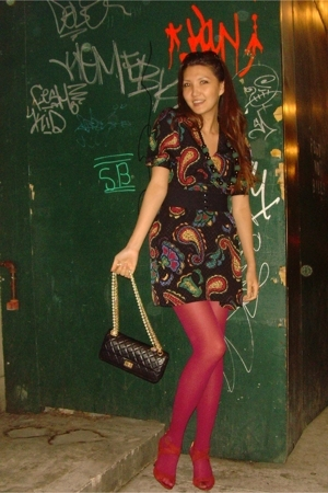 Maggy London dress - dunno stockings - Chanel purse