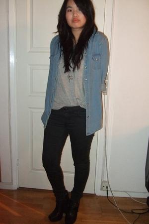 gray Monki t-shirt - blue Topshop shirt - black Topshop jeans - black sam edelma