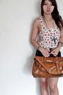 White-h-m-top-black-random-shorts-brown-bought-in-china-market-bag