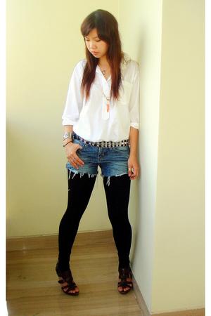 white homemade shirt - blue gift from client jeans - black Zara belt