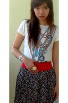 beige random shop top - black glitz skirt - red free belt - yellow