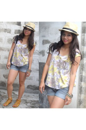 yellow sandals - hat - denim shorts - floral top