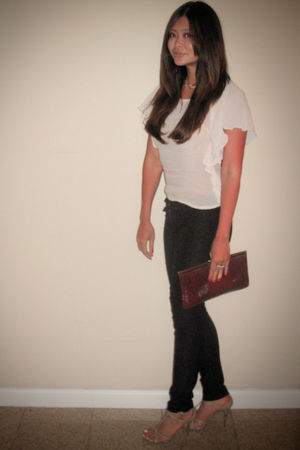 black vintage pants - beige H&M blouse - beige Miu Miu shoes - red vintage purse