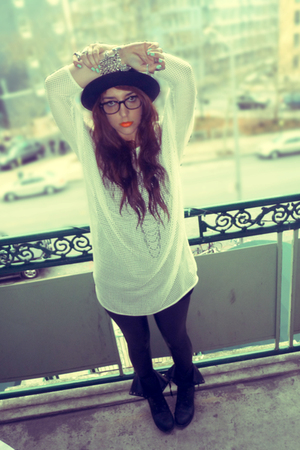 black Miss Selfridges leggings - white H&M sweater