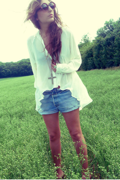 white Topshop blouse