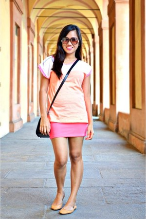 brown mint sunglasses - hot pink Forever 21 skirt - nude Meroma flats