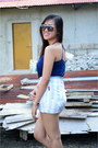 Navy-lace-top-top-sky-blue-porsche-shorts-black-sandals