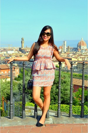 black rayban sunglasses - sky blue apartment 8 dress - black Meroma flats