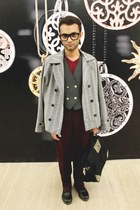 heather gray plaid thrifted vintage blazer - black leather Dr Martens boots