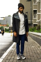 dark gray Abocs coat - navy slim fit Topman jeans - black knit Topman hat