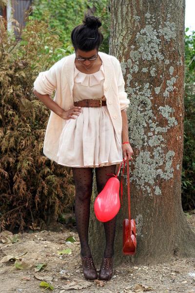 brown Chloe shoes - beige Violette Tannenbaum dress - orange vintage bag