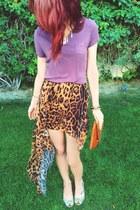 burnt orange leopard hi low skirt - burnt orange Steve Madden bag