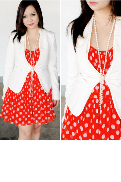 carrot orange Forever21 dress - white hook-and-eye H&M blazer