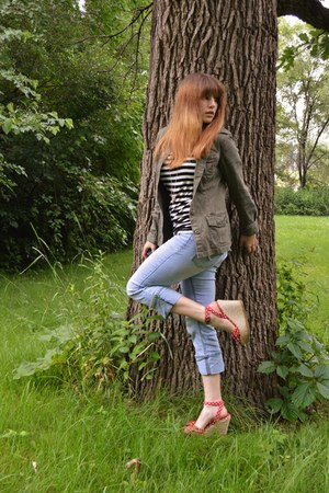 black striped Forever 21 t-shirt - sky blue jeans - army green thrifted jacket