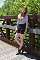 band tee shirt - vintage xhiliration shorts - studded H&M belt