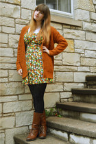 burnt orange Forever 21 cardigan - dark brown boots