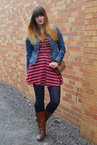 navy tights - dark brown boots - brick red striped Forever21 dress