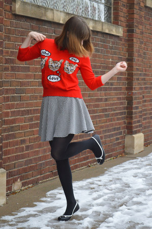 red cat Target sweater - black tights - black checkered Boston store skirt