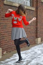 red cat Target sweater - black tights - black checkered Boston store skirt