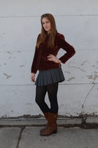 brown boots - brick red thrifted vintage blazer - black tights