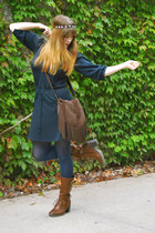 navy Old Navy dress - burnt orange boots - navy tights
