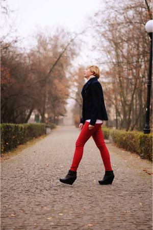 red Bershka pants - navy H&M jacket - black asos wedges