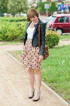 black Sheinside jacket - peach Sheinside skirt