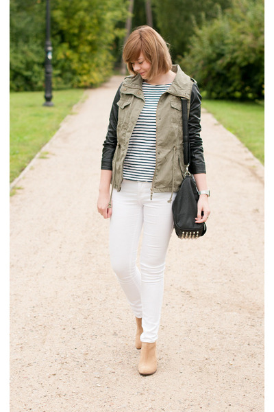 olive green pull&bear jacket - white pull&bear pants